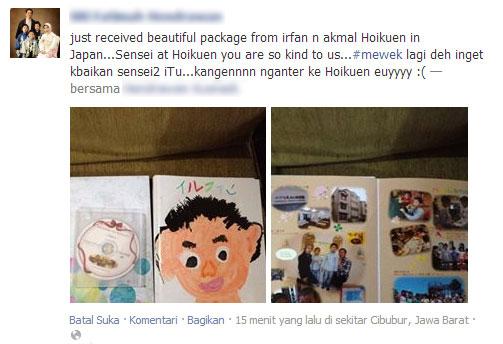 Paket kejutan dari sensei (guru) hoikuen Irfan. Wah, kenangan yang sangat berharga..