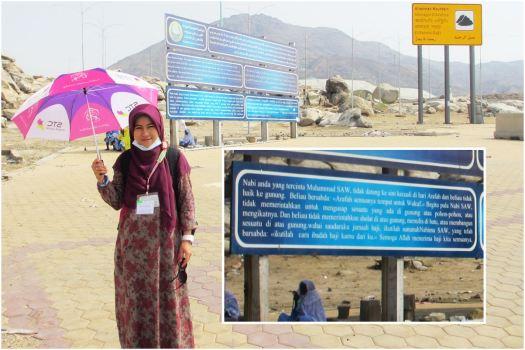 Peringatan untuk tidak berbuat syirik di Jabal Rahmah, tersedia dalam empat bahasa, salah satunya Bahasa Indonesia.