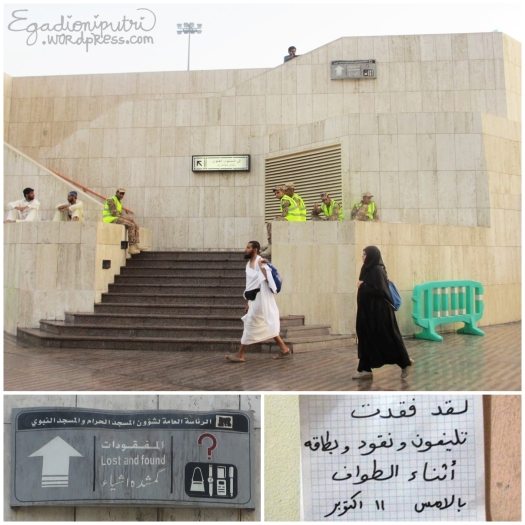 Finally.. we found it! Lost and found is located close to women toilet in the east of masjid complex. Sama nggak tulisannya kaya petunjuk yang dituliskan Ali? :D