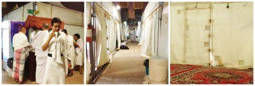 (Kiri) Berburu minuman hangat, (Tengah) Jalanan di dalam area maktab, (Kanan) Tenda di Mina sudah dilengkapi karpet tebal yang nyaman untuk tidur