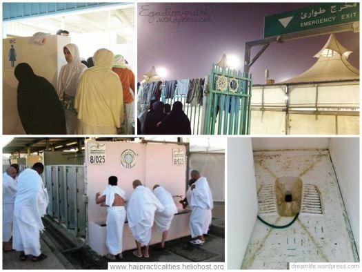 Hasil inspeksi ke toilet pertama kali (atas), potret toilet di Mina (bawah, diambil dari situs lain)