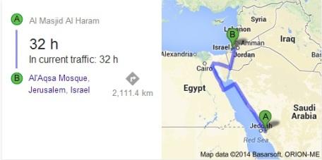 Jarak antara kedua masjid adalah lebih dari 2000 km. Dengan mobil pada masa sekarang (2014) menghabiskan waktu 32 jam. Isra' Mi'raj diperkirakan terjadi pada tahun 621 M (11 tahun kenabian).