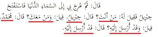 Penggalan hadis riwayat Imam Ahmad dari Anas bin Malik tentang peristiwa Isra' Mi'raj. Ini adalah bagian saat terjadi percakapan antara Jibril dan para Nabi penghuni surga saat Muhammad SAW dibawa dari satu surga ke surga lainnya.