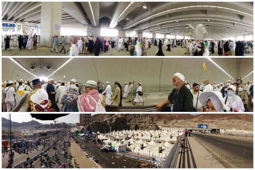 Top: Jamarat Pillars. Middle: Tunnel from Mina to Jamarat. Bottom: View during trip from Jamarat to Masjid Al-Kahf.